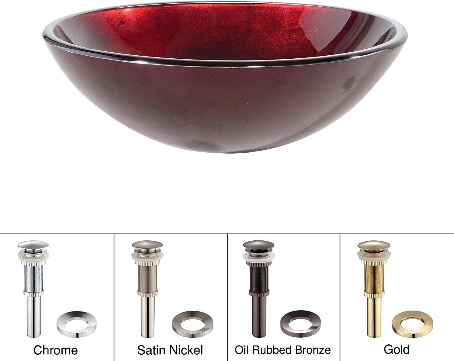 Kraus GV-200-ORB Irruption Red Glass Vessel Bathroom Sink with PU-MR Oil Rubbed Bronze