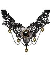 YAZILIND bijoux collier fait main Lolita baisse de coeur Pendentif Dentelle Choker noir Multi chaine gothique (Collier)