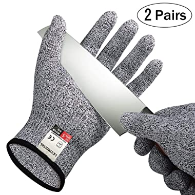 2 Pairs Cut Resistant Gloves, LKY DIGITAL High Performance Level 5 Protection, Food Grade Kitchen Glove for Hand Safety while Cutting, Cooking, doing Yard Work(Large)