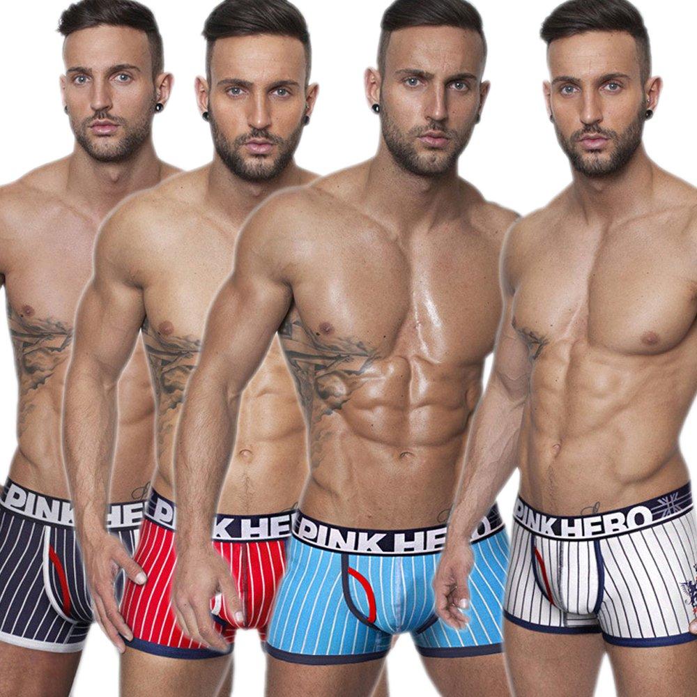 Yeke Men 4Pcs//Set Underwear Cotton Briefs Boxer Soft Trunk Stripes Shorts Underpants