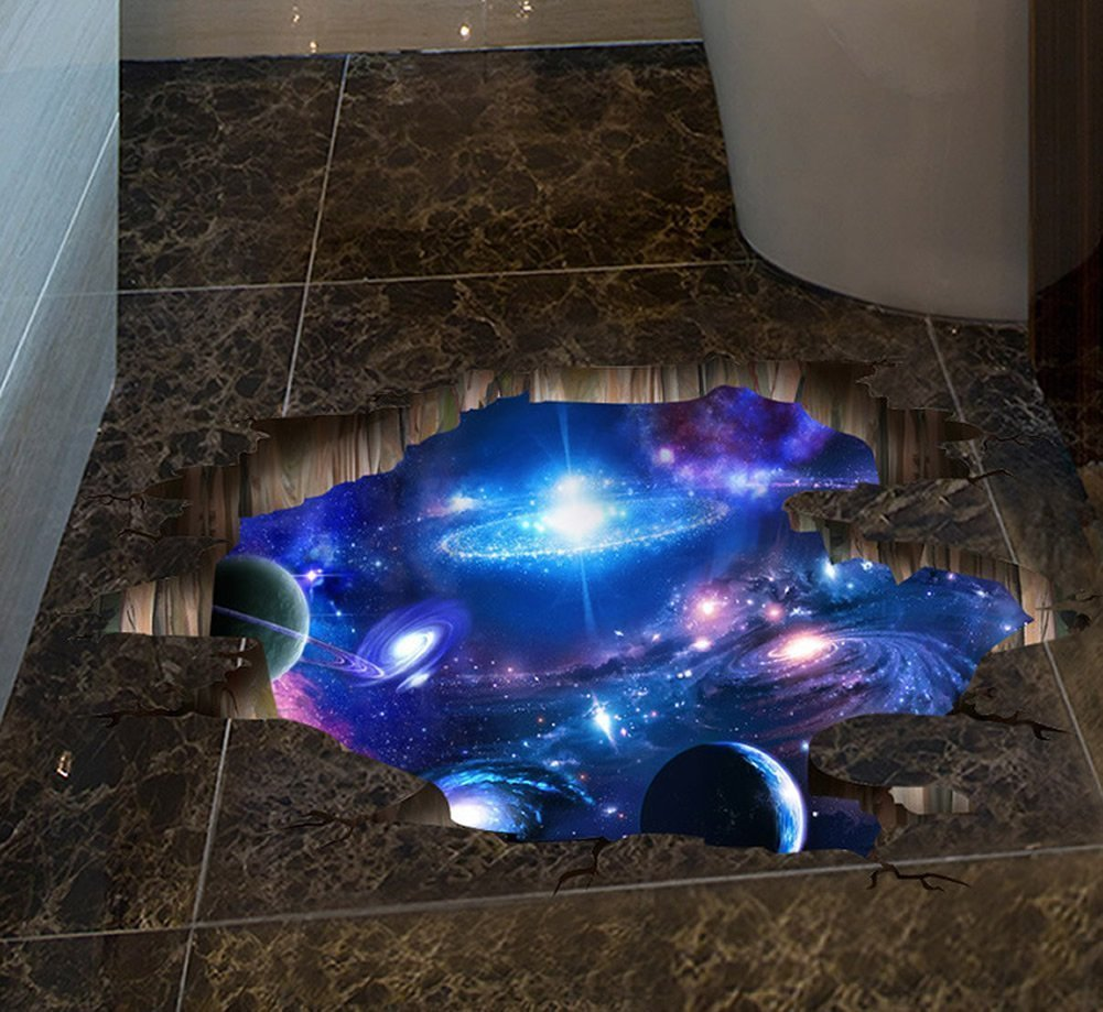 Amaonm Creative 3D Blue Cosmic Galaxy Wall Decals Removable PVC Magic 3D Milky Way Outer Space Planet Window Wall Stickers Murals Wallpaper Decor for Home Walls Floor Ceiling Boys Room Kids Bedroom by Amaonm (Image #2)