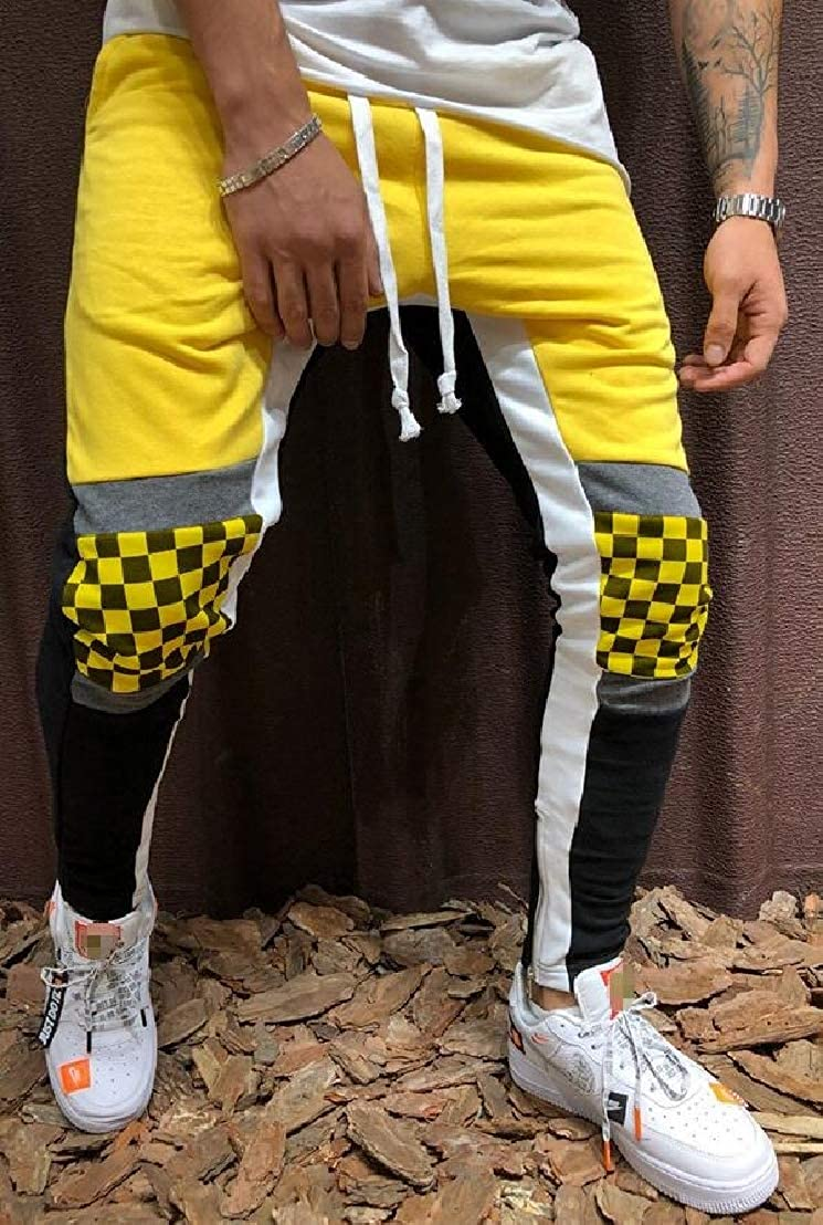 Wofupowga Men Drawstring Slim Stitching Stylish Plaid Hip-Hop Pants