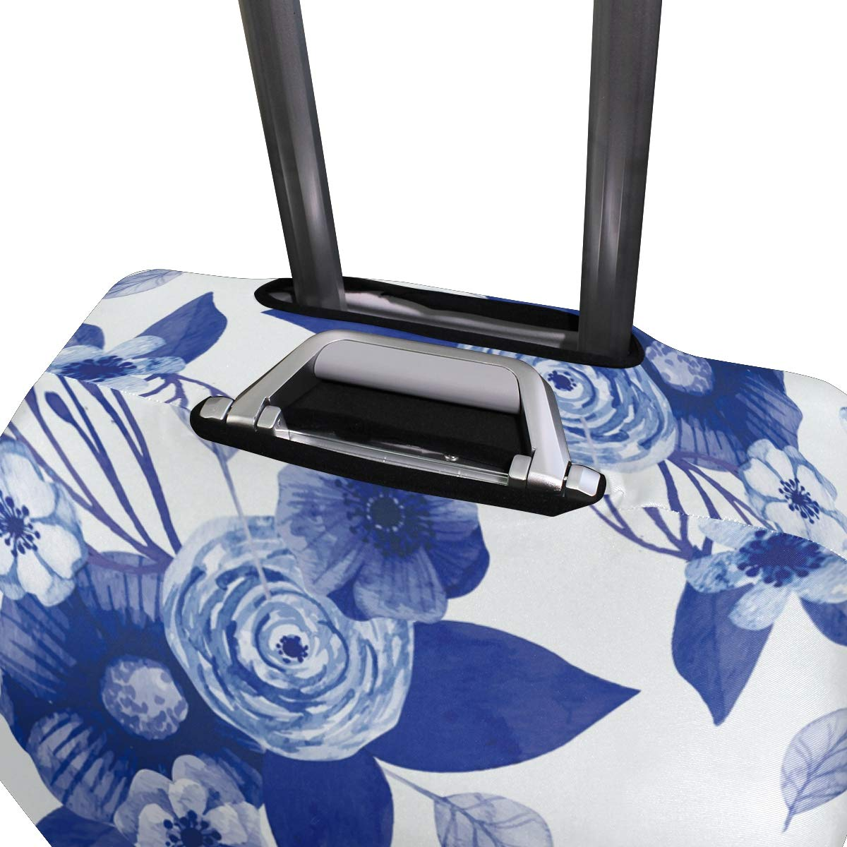 Baggage Covers Blue Watercolor Flowers Vintage Washable Protective Case