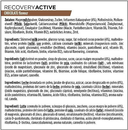 PowerBar Recovery Active Chocolate 1210g - Bebida de Suero de Leche de Regeneración con Carbohidratos + Magnesio y Zinc