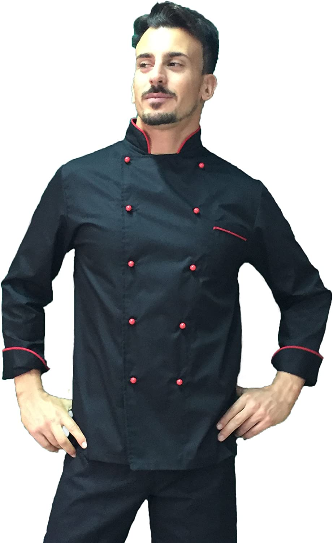 Made in Italy tessile astorino Ricamo Gratuito Giacca Cuoco Chef Basic Nera con Profili Rossi