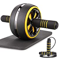 AUOPLUS Ab Roller for Abs Workout, 3.5'' Ab Roller Wheel Home Gym Equipment for Abdominal Exercise, Portable Ab Wheel Roller Exercise Equipment with Jump Rope and Knee Mat for Men Women Core Workout