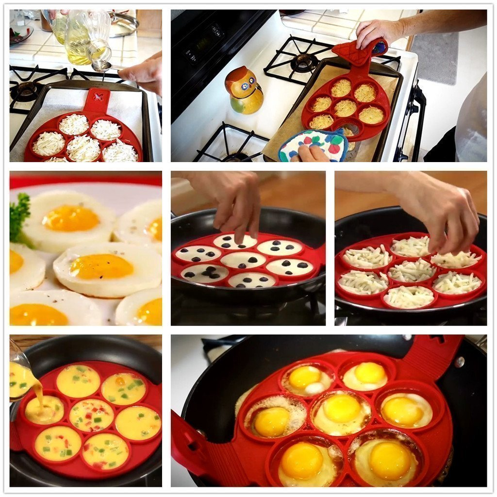 Pancake Mold Nonstick Silicone Pancake Ring Maker Healthy Multi-functional Quick and Easy Way to Make Perfect Pancake Fried Eggs B-Chen