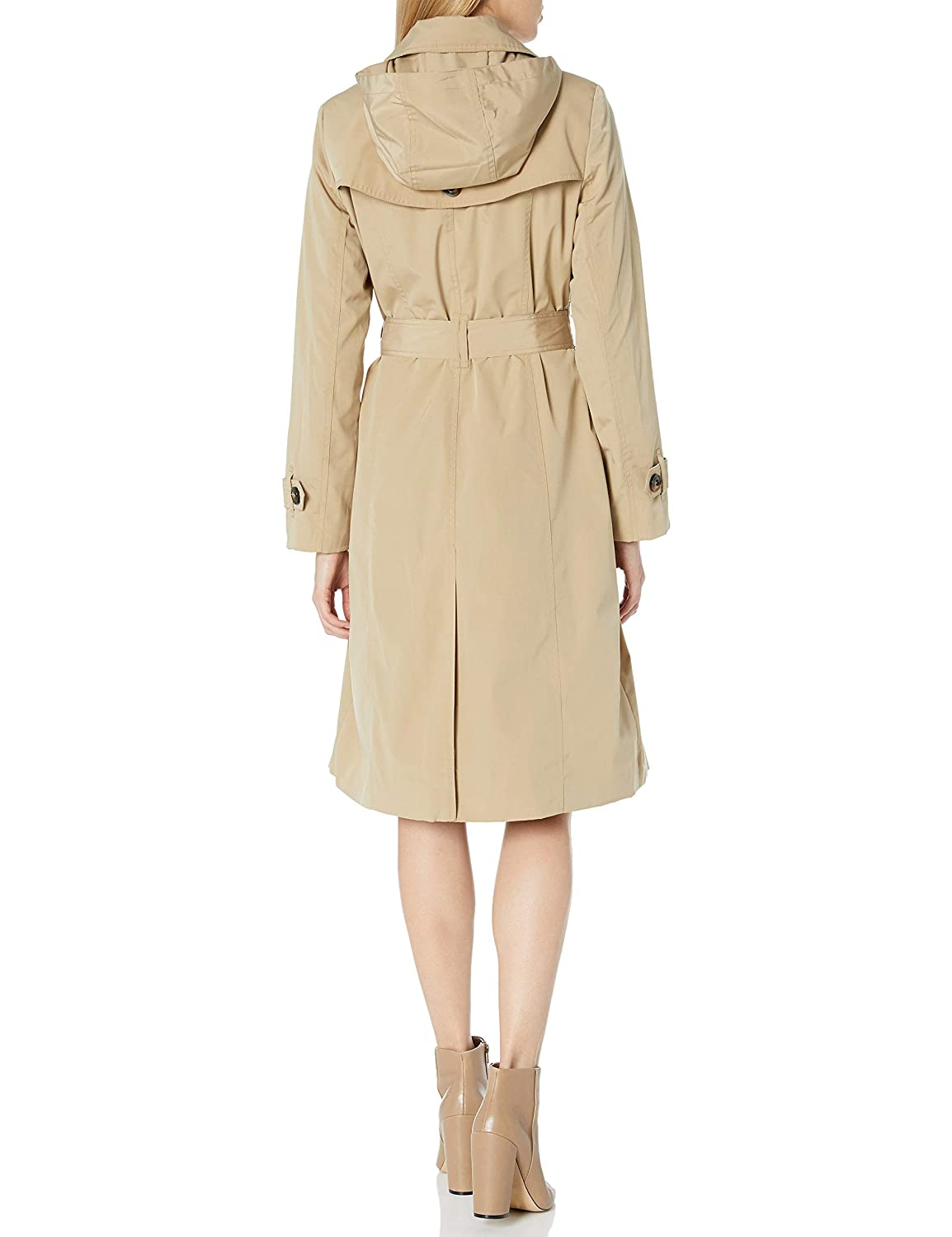 London Fog Womens Single Breasted Belted Trench with Hood Raincoat