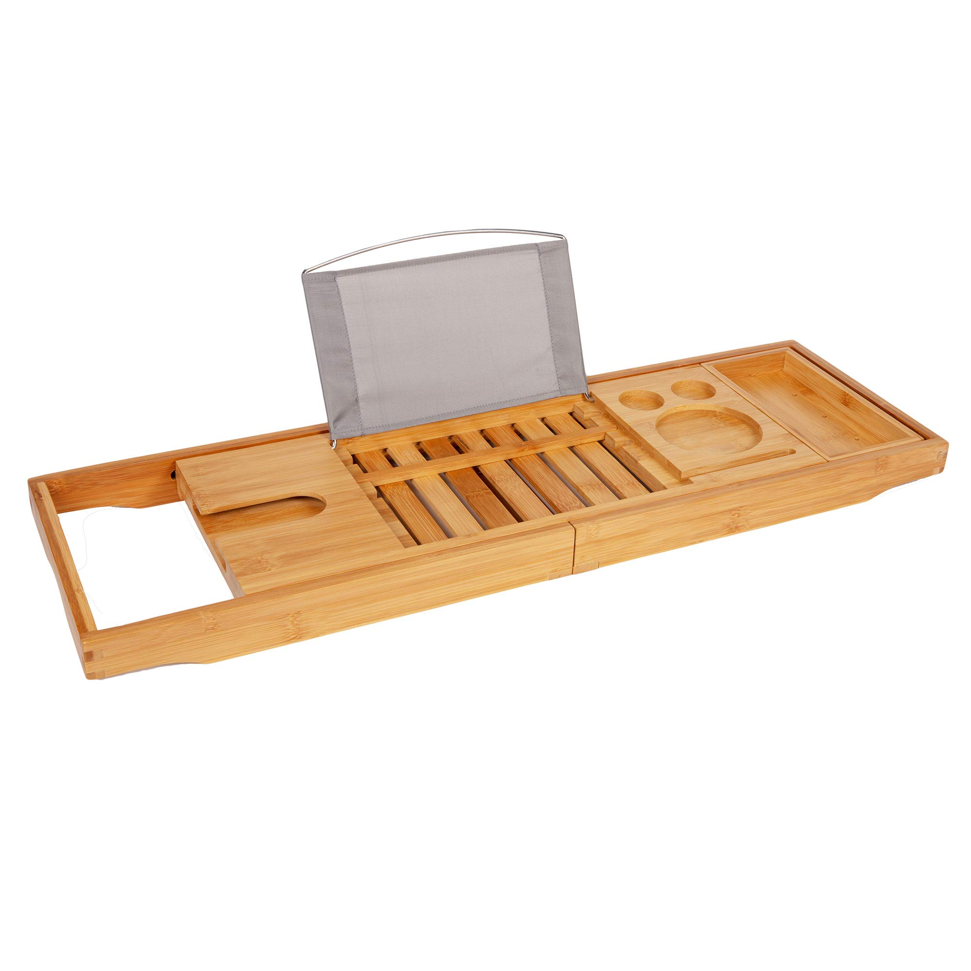TRIXES Premium Bamboo Bath Caddy - Extendable Luxury Home Relaxation Spa Experience for Bathrooms - Wine Holder - Book Stand Rack Phone Slot - Candles - Side Tray -Compatible with Tablets E-Readers