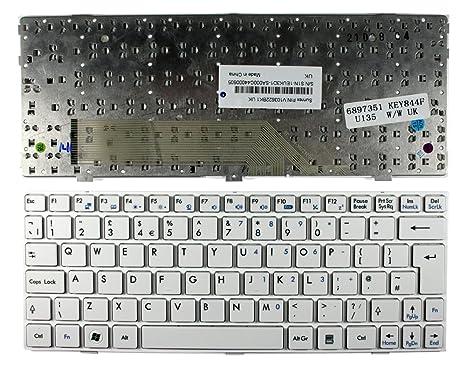 Keyboards4Laptops MSI Wind U135 Marco Blanco Blanco Layout Reino Unido Teclado de Repuesto para Ordenador portátil