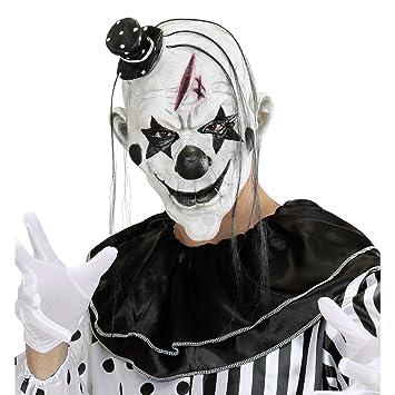 Máscara de terror payasito Antifaz payaso killer con sombrero y pelo Mascarilla pierrot látex Complemento para