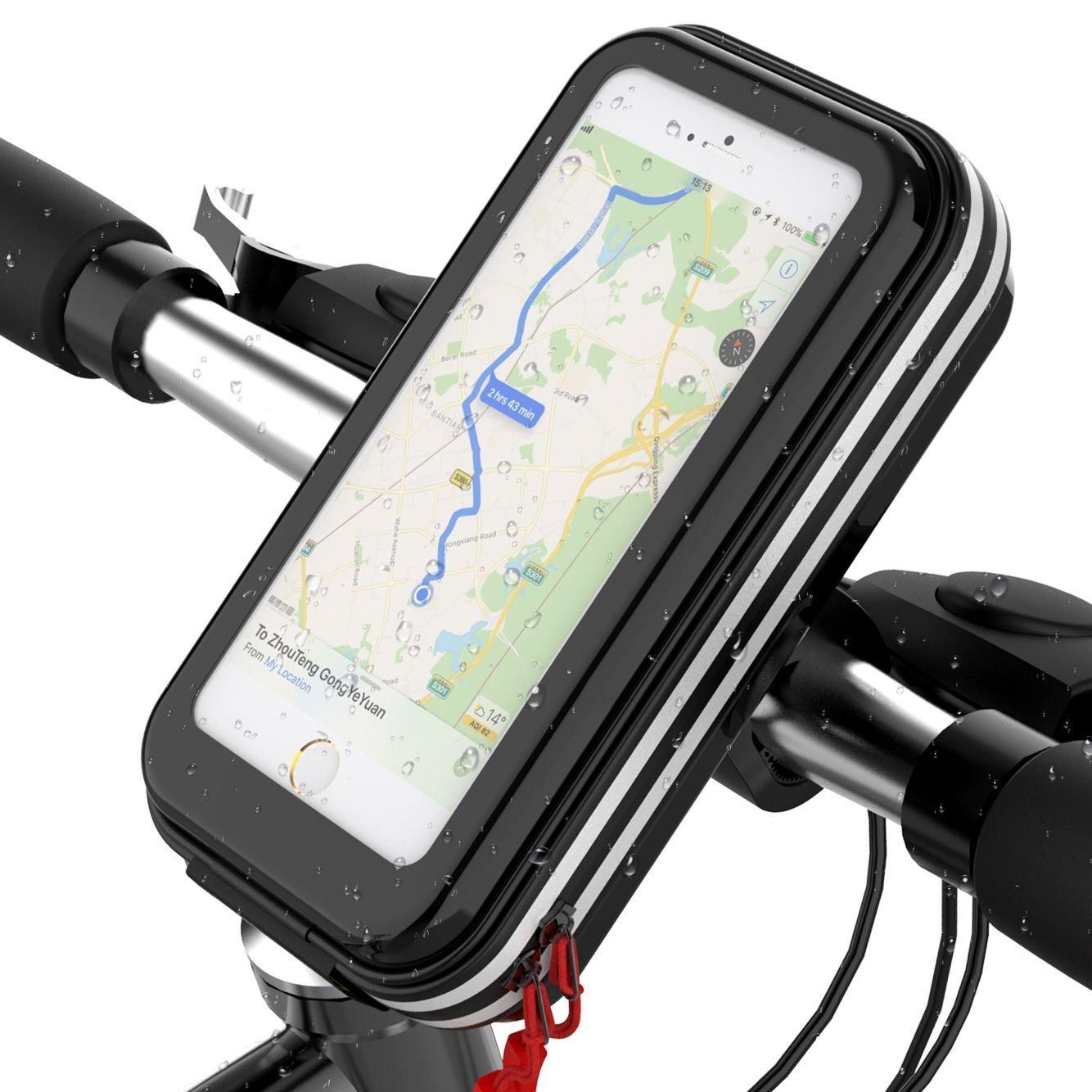 Borse Bici Antiurto Bicicletta Borsa da Manubrio Porta Telefono per Bicicletta, Impermeabile Supporto Bici Smartphone per iPhone 8/7/6 Plus Samsung S9/8/7 Rotabile a 360 Gradi Lovicool