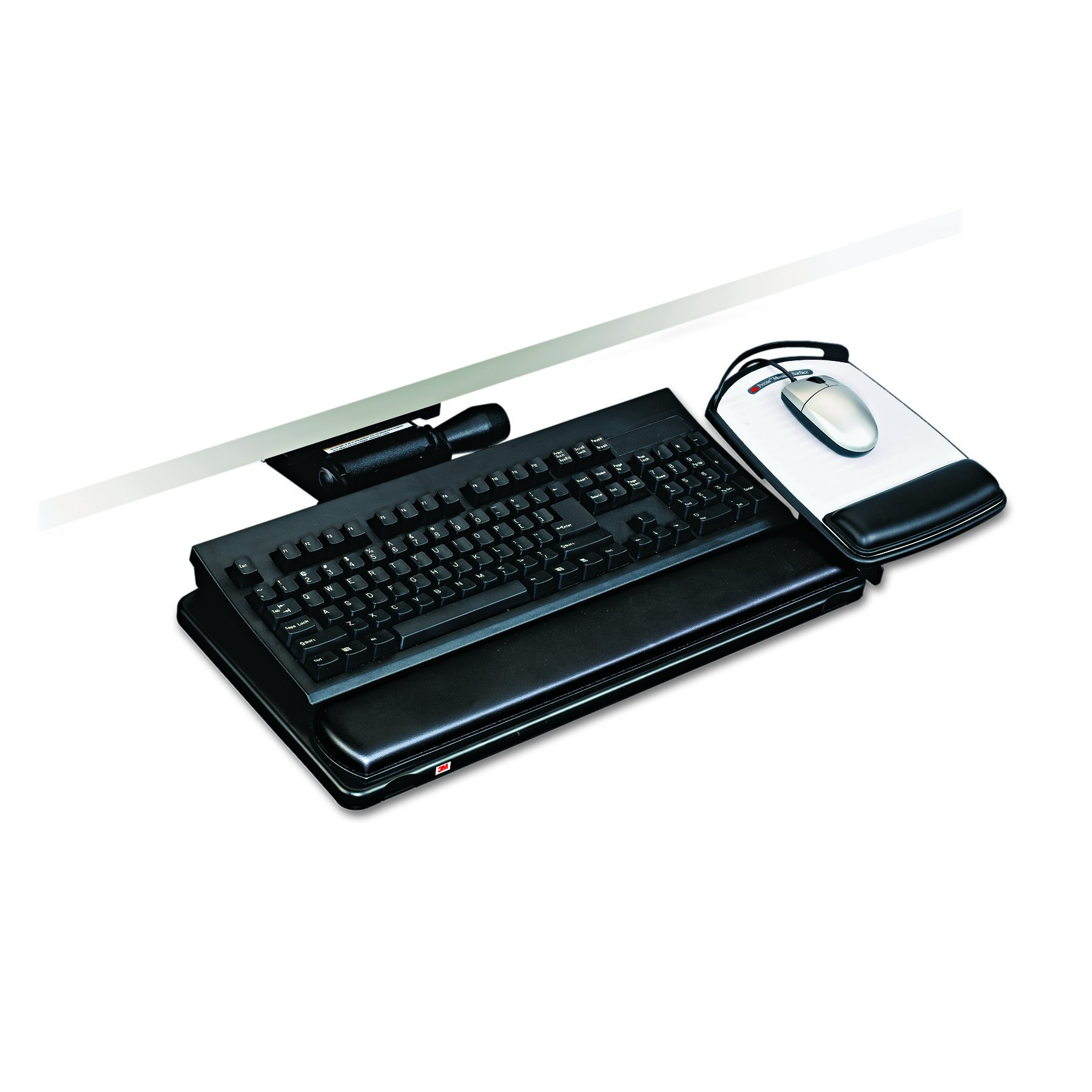3M AKT151LE Easy Adjust Keyboard Tray With Highly Adjustable Platform, 17 3/4'' Track, Black