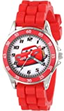 Disney Kids' CZ1009 Time Teacher Cars Lightning McQueen Round Watch with Red Rubber Strap