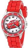 "Disney Kids' CZ1009 ""Time Teacher"" Cars Lightning McQueen Round Watch with Red Rubber Strap"