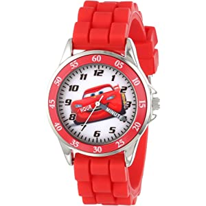 Cars Kids Analog Watch with Silver-Tone Casing, Red Bezel, Red Strap