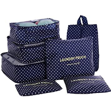 d1386085d674 HiDay 7 Set Travel Cube System - 3 Packing Cubes + 3 Pouches + 1 Premium  Shoes Bag - Perfect Travel Luggage Organizer