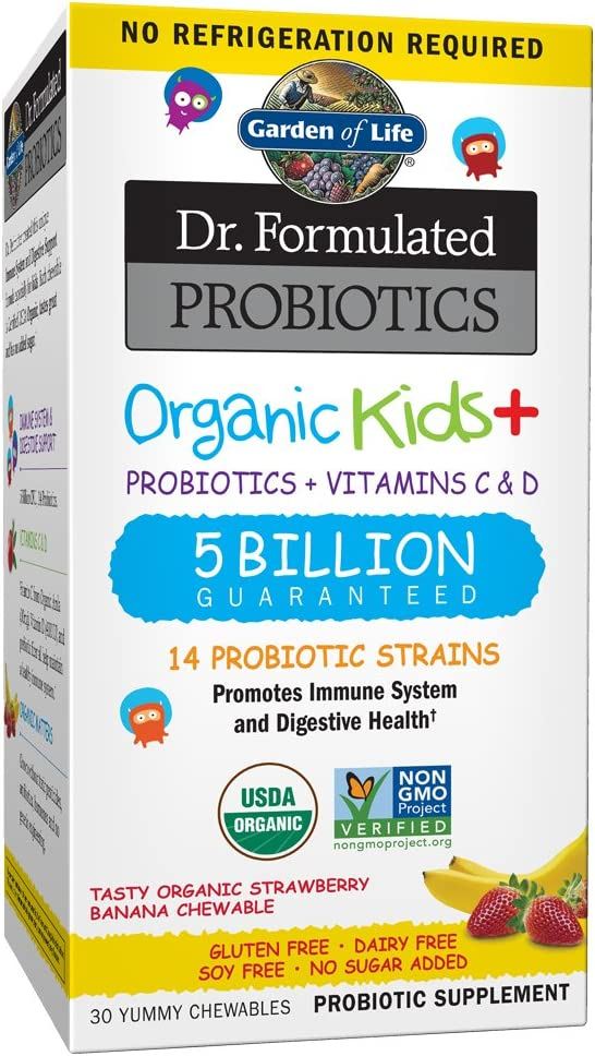 Garden of Life Dr. Formulated Probiotics Organic Kids+ plus Vitamin C & D, Strawberry Banana, Gluten Dairy & Soy Free Immune & Digestive Health Supplement, No Added Sugar, 30 Chewables (Shelf Stable)