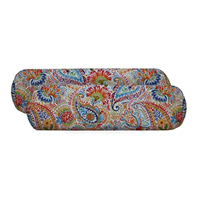 RSH Décor Set of 2 - Indoor/Outdoor Decorative Neckroll/Throw Pillows Made with Gilford Festive Fabric: Home & Kitchen