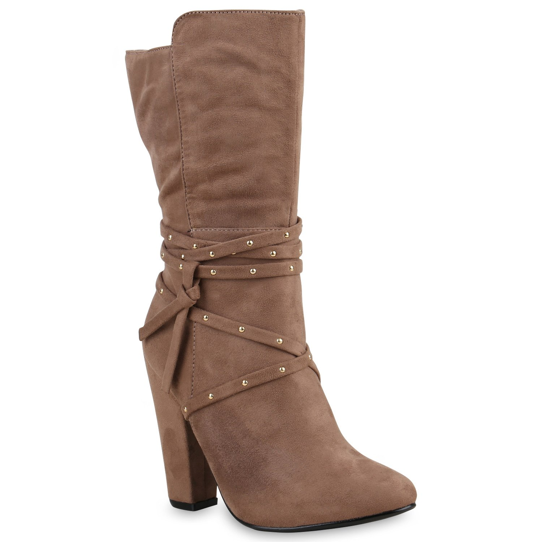 Stiefelparadies Damen Stiefeletten Plateau Boots Gefüttert Flandell Khaki Nieten