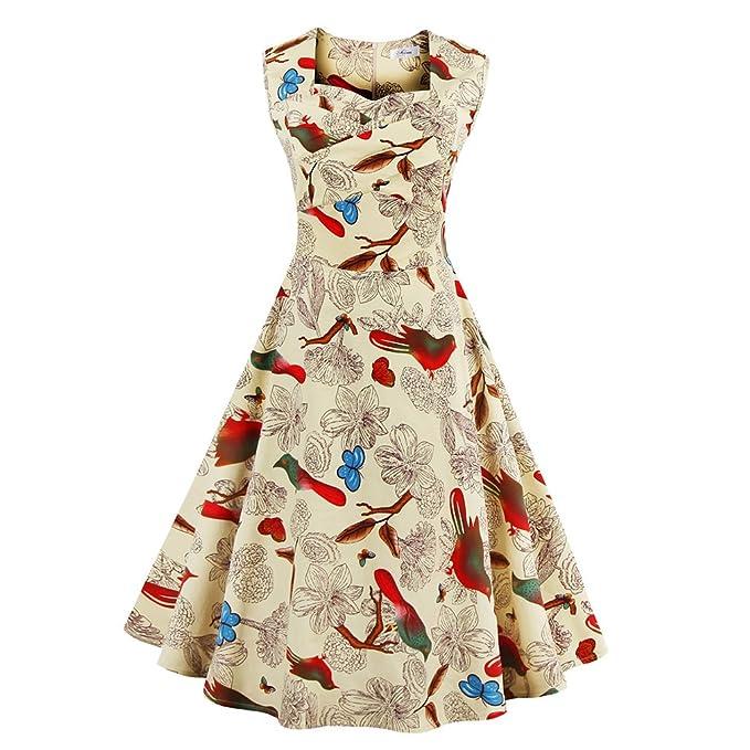 La mujer vestidos de verano vestidos estampados florales Vintage Retro estilo elegante casual Oficina vestidos vestido