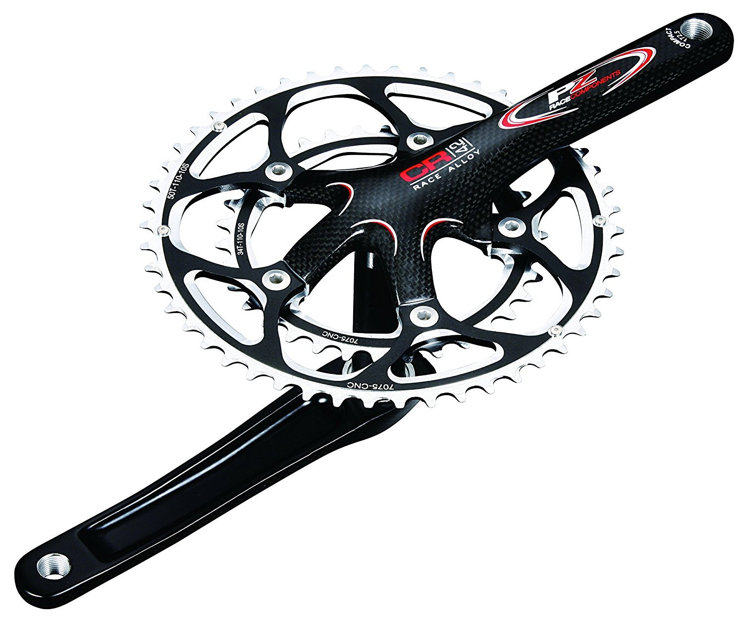 PZ Racing CR4.2K 50/36T Bike Crankset 110x172.5mm Shiny Black [並行輸入品] B075K4DVFW