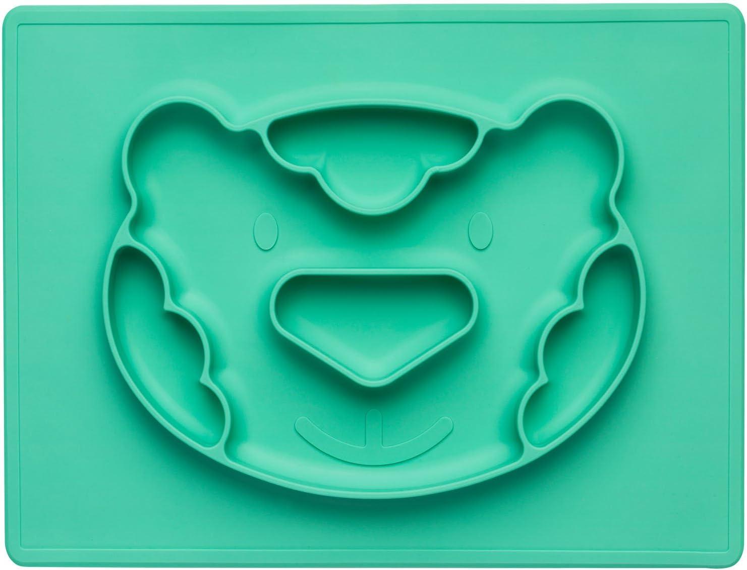 Silicone verde in silicone antiscivolo Ferkel Piatto per bambini con tovaglietta integrata
