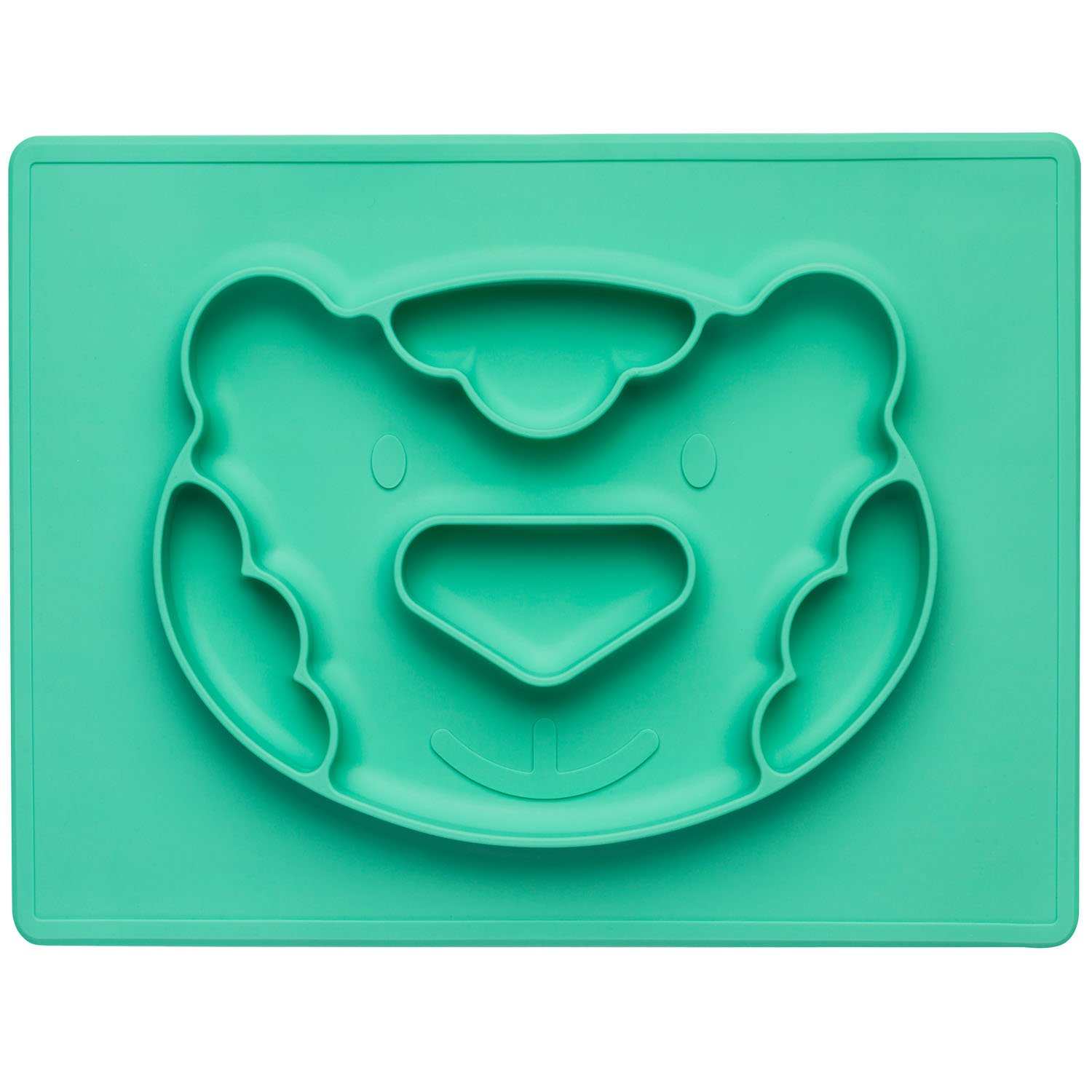 Childrens Plate Silicone Eating Mat Table Set Place Mat Anti-slip Baby Plate; Tiger Turquoise