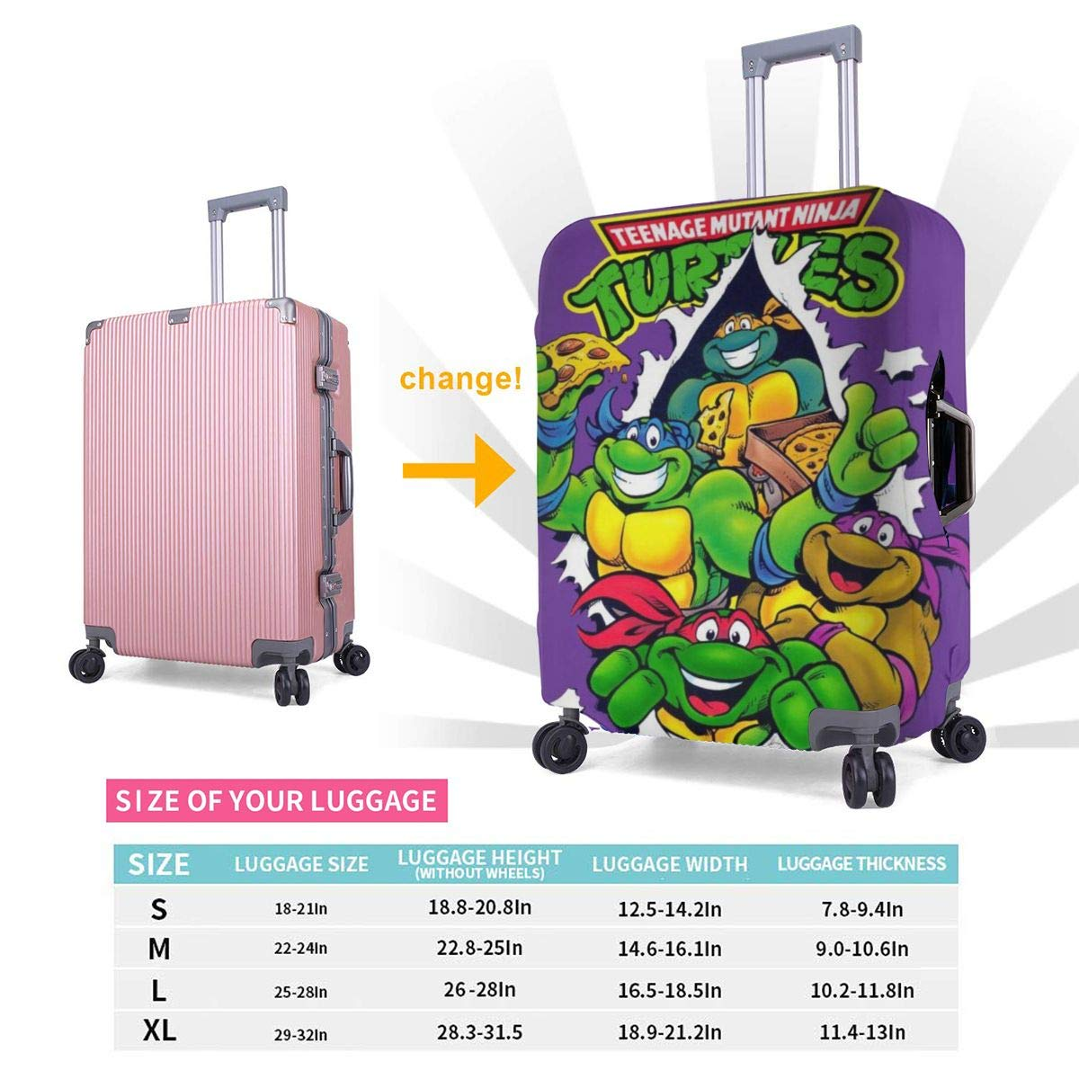 Ninja Turtles Suitcase Protector Travel Luggage Cover Fit
