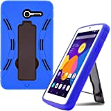 Alcatel Pop 7 LTE Case by KIQ (TM) Drop Protection Hybrid Case Silicone Plastic Cover Built-In Kickstand for Alcatel One Touch Pop 7 LTE 9015W - Black / Blue