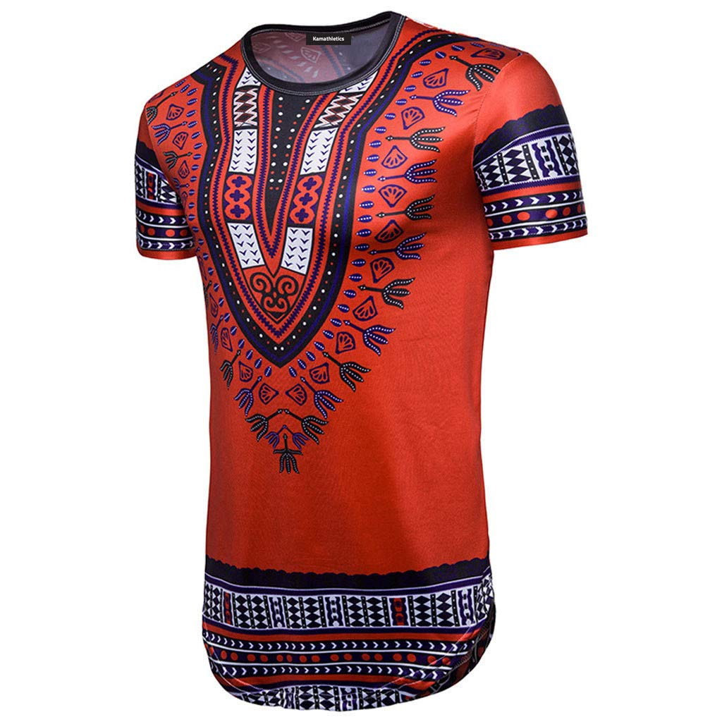 Pandaie Mens T Shirt Top New-Mens Casual African National Style Print O Neck Pullover Short Sleeve T-Shirt Top Blous