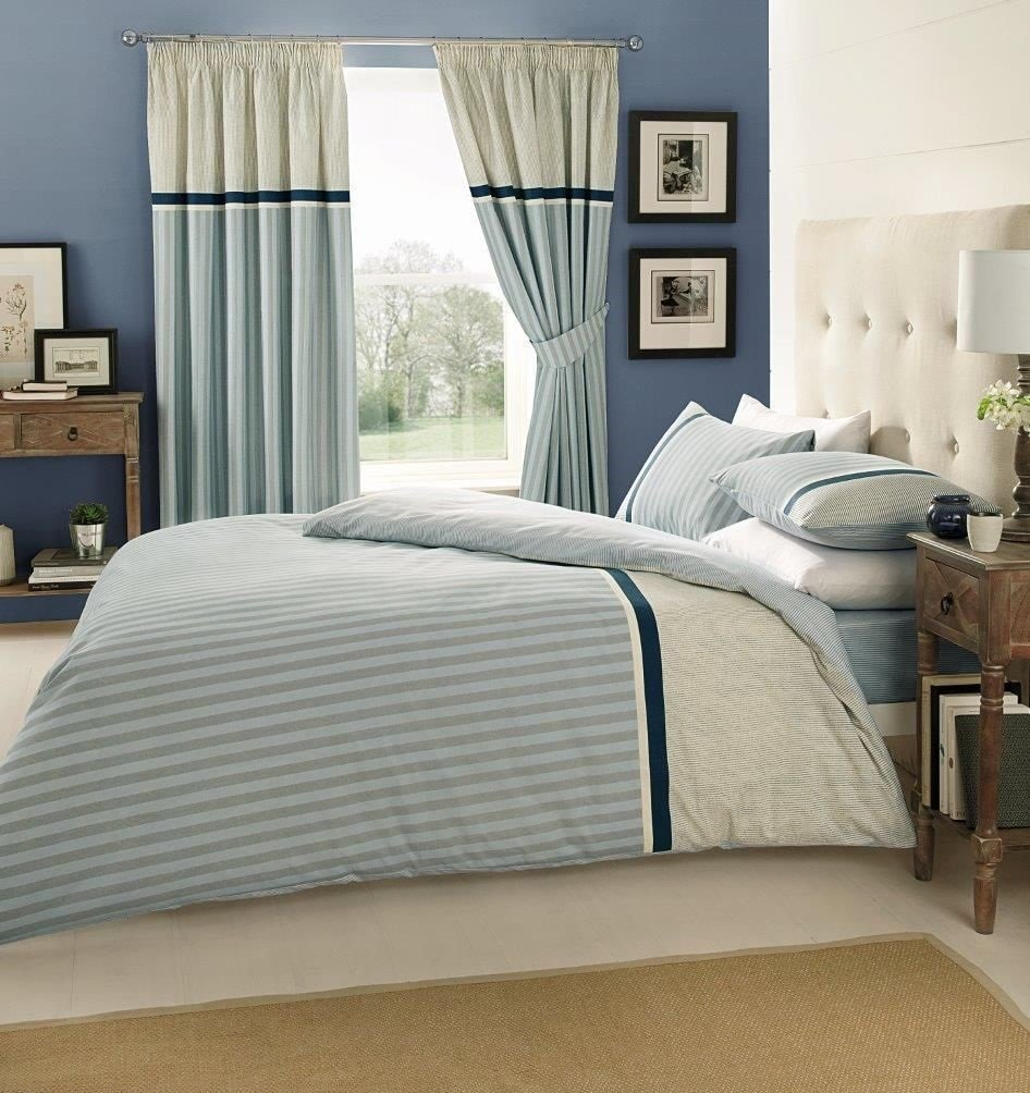 VALERIA BLUE QUILT DUVET COVER SET WITH MATCHING CURTAINS And FITTED SHEET