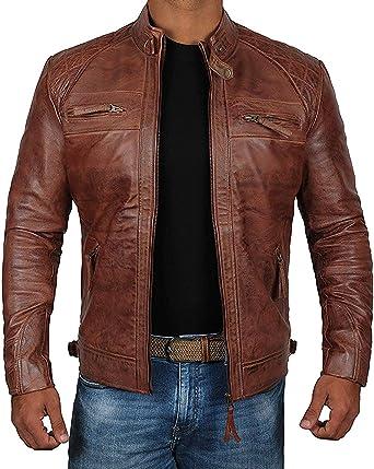 Biker Motorcycle Genuine Distressed  Vintage Brown Real Leather Jacket for Men