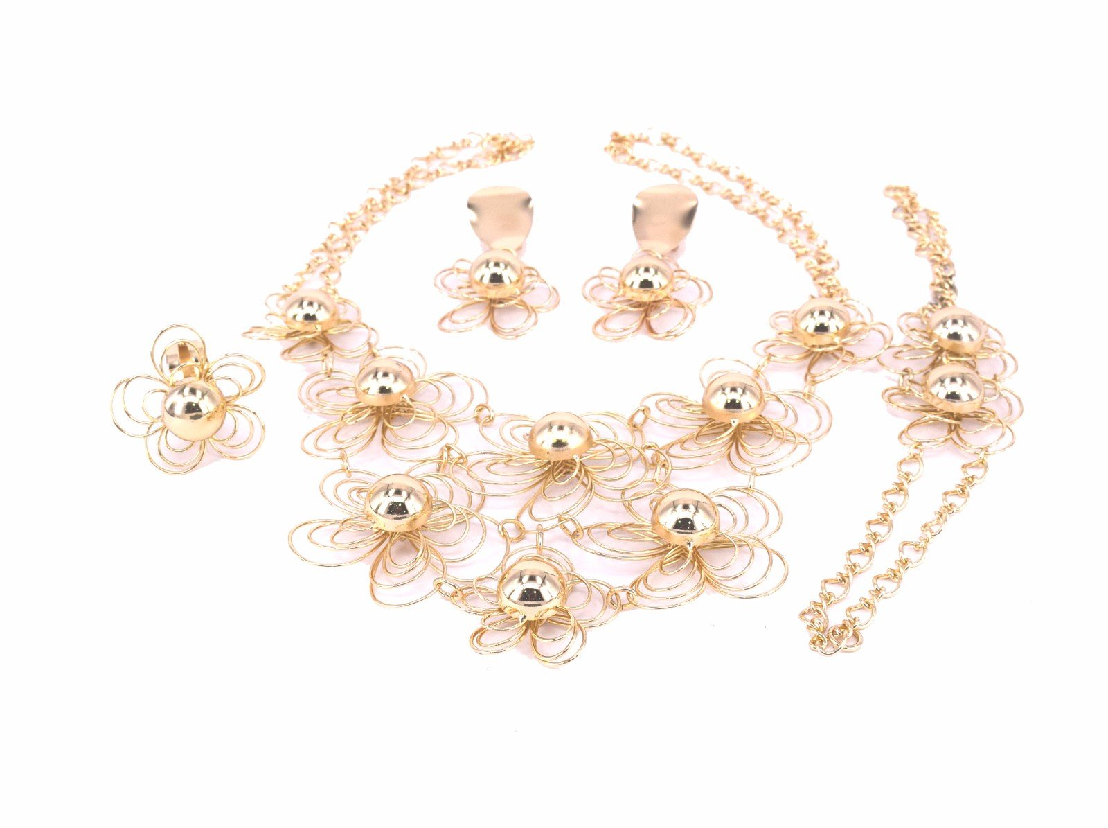 Moochi 18K Gold Plated Africa Style Hollow Ball Pattern Costume Necklace Alloy Jewelry Set