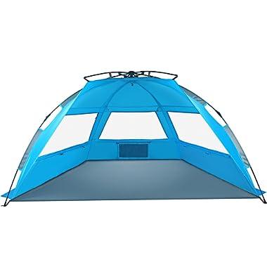 Tagvo Pop Up Beach Tent Sun Shelter Easy Set Up Tear Down, Fiberglass Frame Lightweight 4.7lb Compact Instant Beach Canopy, UPF 50+ Sun Protection 3 Zipper Screen Windows Ventilation Easy Up Sun Shade