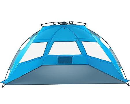 Tagvo Pop Up Beach Tent Sun Shelter Easy Set Up Tear Down, Fiberglass Frame Lightweight 4.7lb Compact Instant Beach Canopy, UPF 50 Sun Protection 3 Zipper Screen Windows Ventilation Easy Up Sun Shade