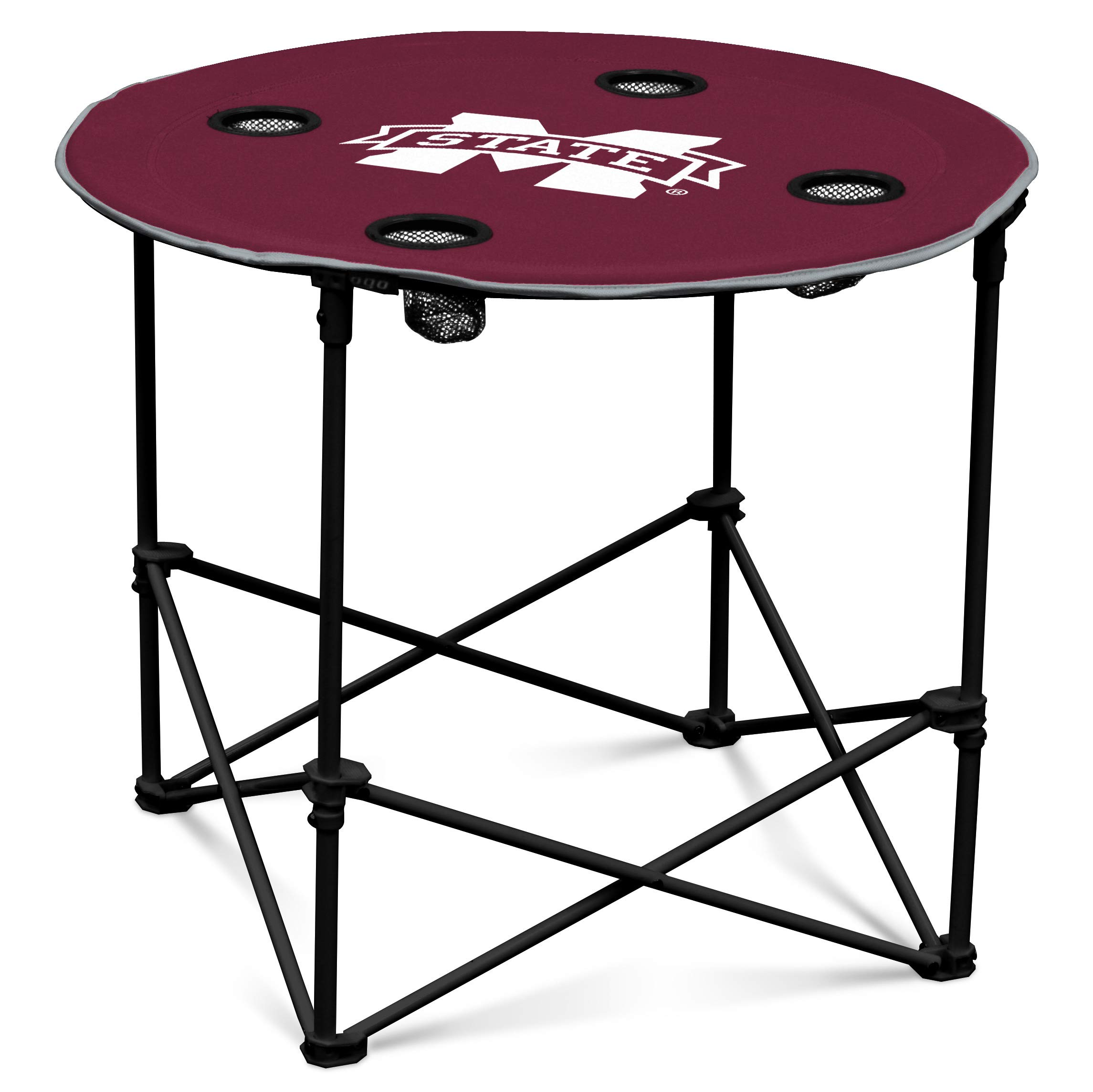 Mississippi State Bulldogs Collapsible Round Table with 4 Cup Holders and Carry Bag by Logo Brands