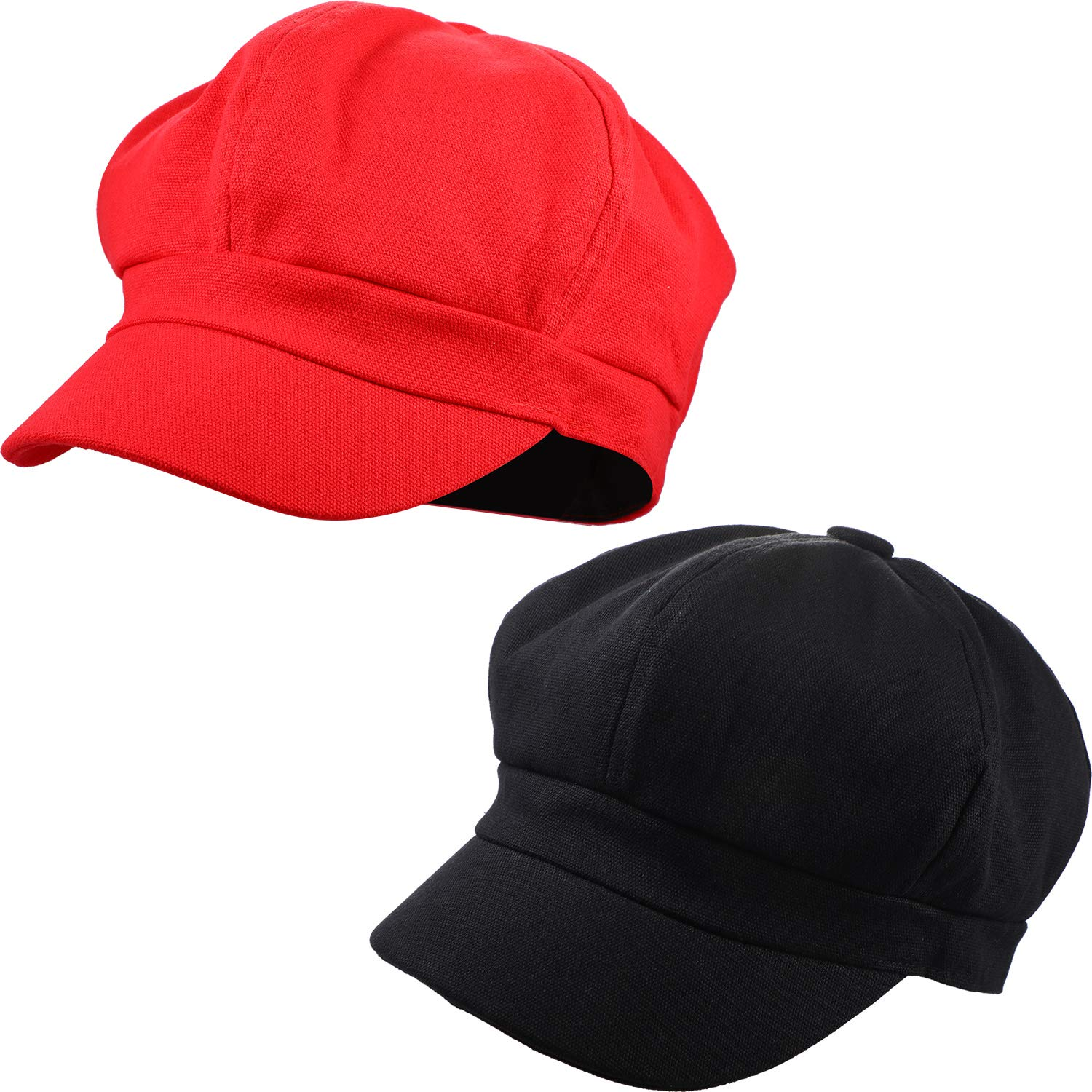 2 Pieces 8 Panel Newsboy Cap Fashion Classic Vintage Cabbie Hats/Cap for All Season, Soft Cotton with Adjustable Back (Black and Red)