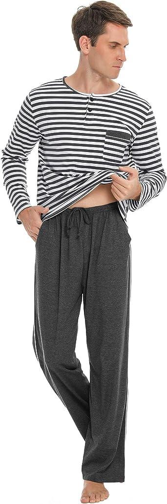 Akalnny Pijama Hombre Invierno con Botones Manga Larga Conjunto de Pijamas Algod/ón 2 Piezas Pantalones Largo Estar por Casa