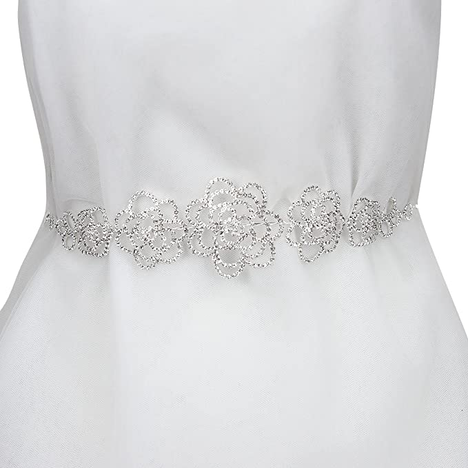 Wedding Bridal Rhinestone Rose Petals Sash Belt in Silver at Amazon ...