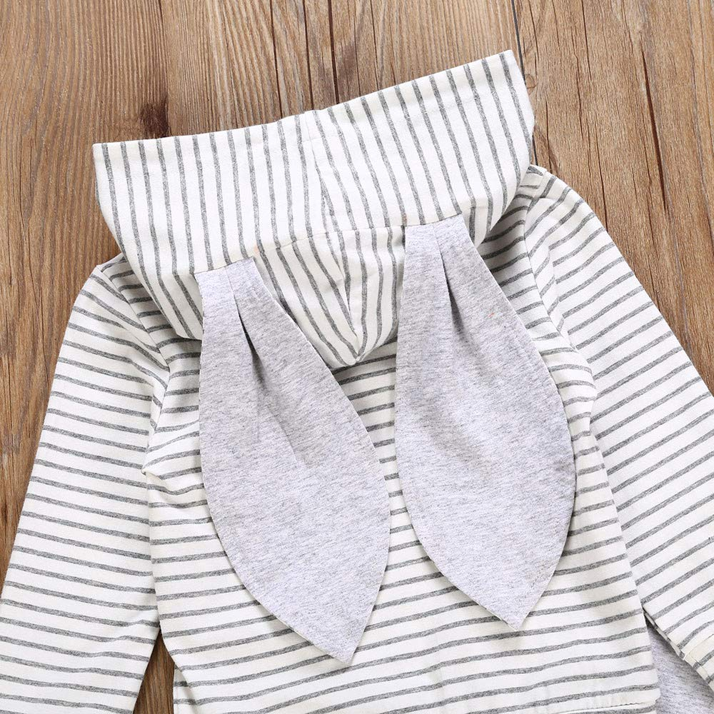 Memela Baby Clothes,Infant Baby Boy Girl 3D Bunny Ear Striped Hooded T Shirt Tops+Pants Clothes Set