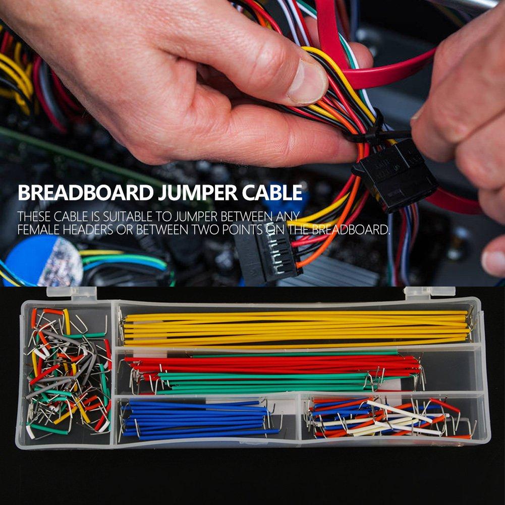 Jumper Wire Kit 10 Taille 140pcs Breadboard Jumper Wire Noir et Rouge En U Forme Solderless Jumper Wire avec Bo/îte pour Electric DIY