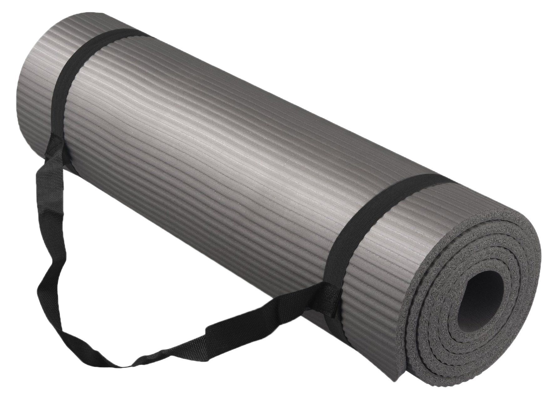 Bojing Yoga Mat Thick NBR, Multipurpose, Multicolor Optional, With Carrying Bag And Strap, Gray