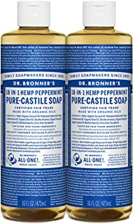 product image for Dr. Bronner's - Pure-Castile Liquid Soap (Peppermint, 16 ounce) - Made with Organic Oils, 18-in-1 Uses: Face, Body, Hair, Laundry, Pets and Dishes, Concentrated, Vegan, Non-GMO, 2 pack