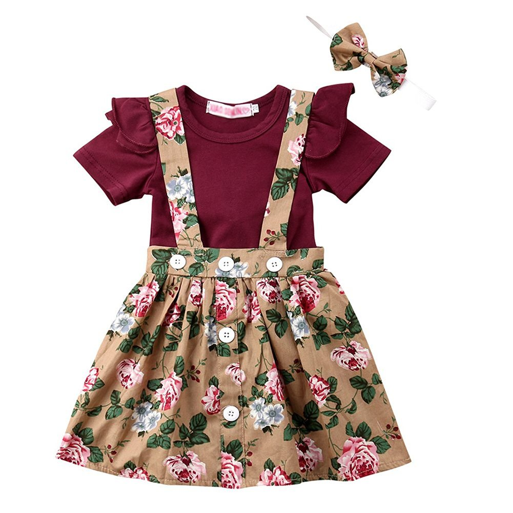 c4cac12bf ❀Top: Wine red onesie with butterfly/fly sleeve; Suspender skirt: Floral,  brown and with buttons ❀Multiple way of wearing:The shirt and skirt can be  taken ...