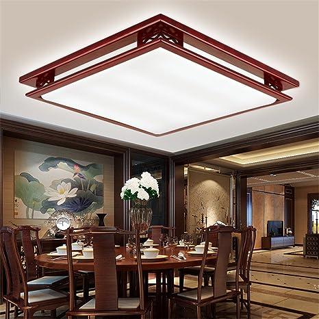 Larsure Estilo Vintage Modern Iluminación de techo Plafones rectangulares de madera sólida slim luces lámpara de