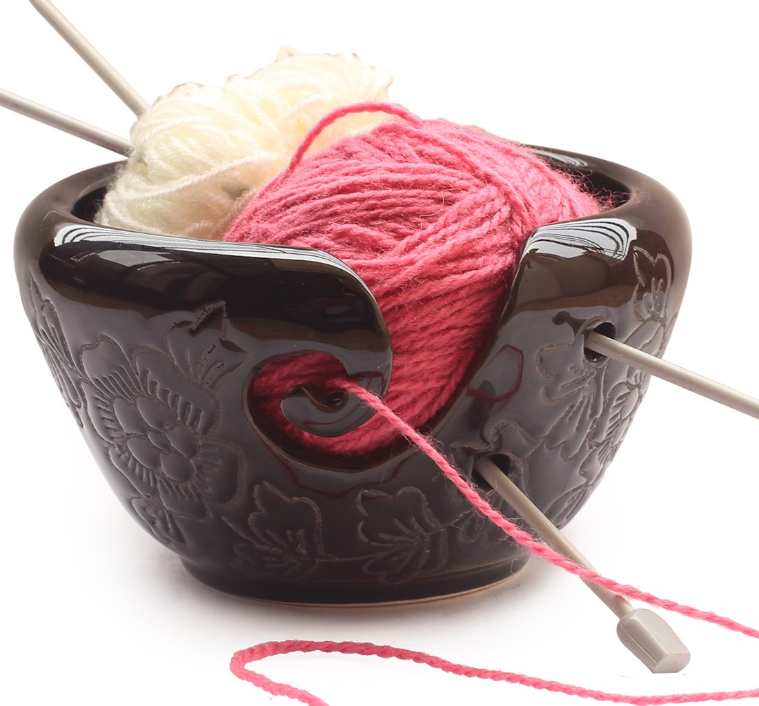 2018 - AB Handicrafts - Ceramic Black Yarn Bowl for knitting 6.5 inch, Crochet for Moms - Beautiful Gift on all Occasions. A Perfect Gift for Moms and Grandmothers abhandicrafts