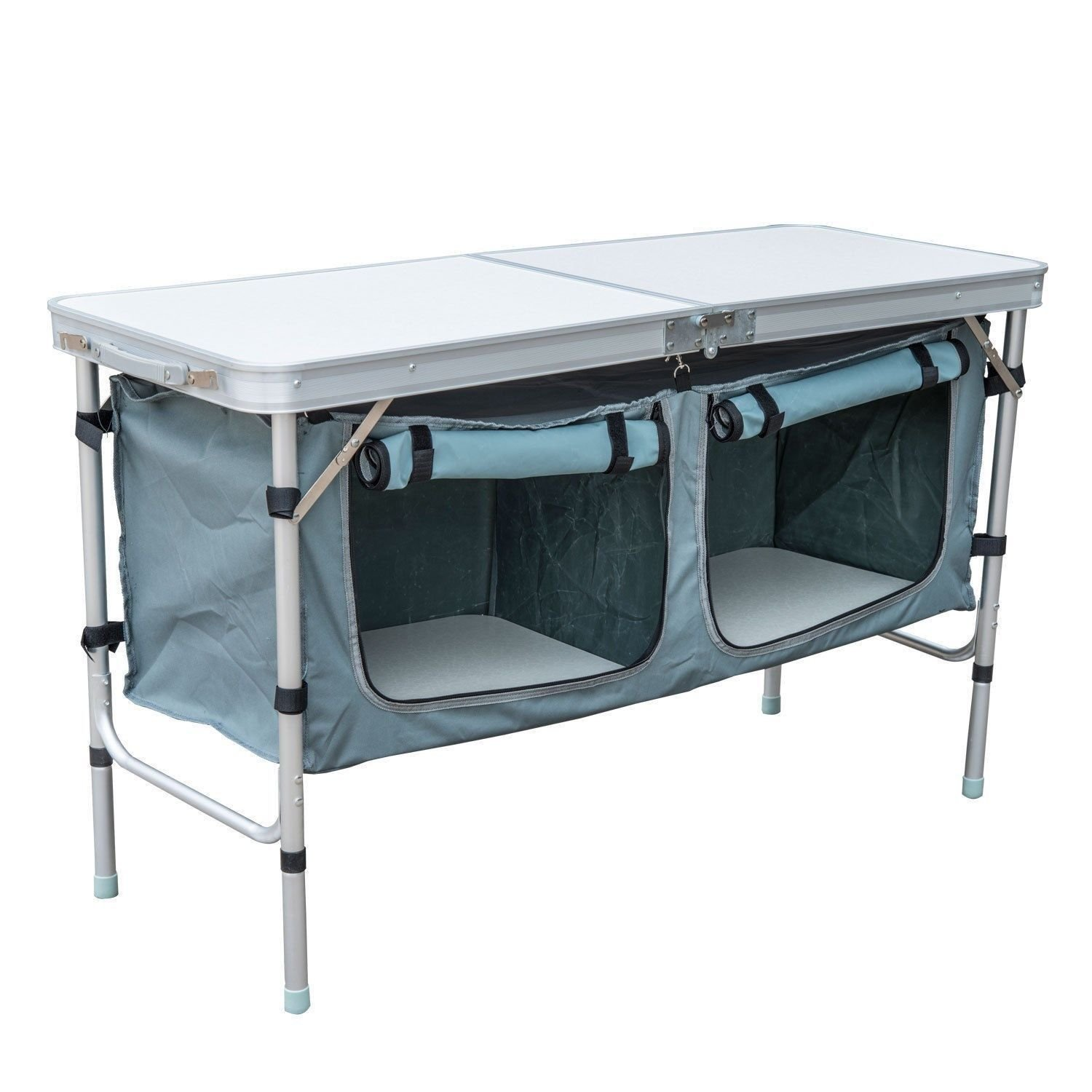 Clever Market Outdoor Camping Folding Table Comfort Portable Durable Aluminium Kitchen Picnic Cabinet Solid Comfortable Barbeque Tabletops Storage Organizer 48""
