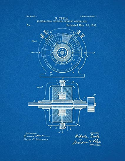 Amazon tesla alternating electric current generator patent tesla alternating electric current generator patent print art poster blueprint 85quot malvernweather Gallery