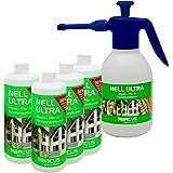 NELL ULTRA (4x 1000 ml + 1,8 Liter Drucksprüher - säurebeständig) Konzentrat --- Algenentferner Pilzentferner Flechtenentferner Grünbelagsentferner Grabsteinpflege Moosentferner Algizid Algicid Algenex Algenvernichter Algenkiller - von ABACUS